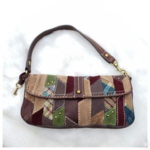 Fossil Leather Patchwork Hobo Bag
